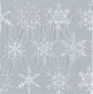Caspari Servetter Falling Snow Silver