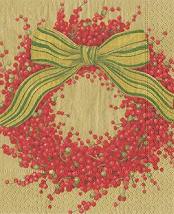 Caspari Servett Berries and bow gold