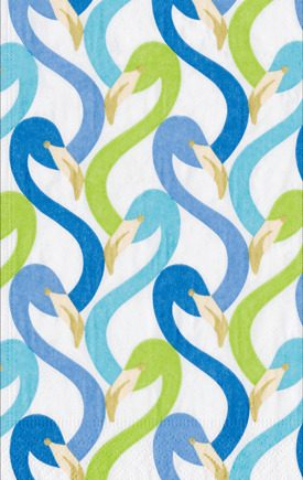 Caspari Servetter Flamingo Flock Blue