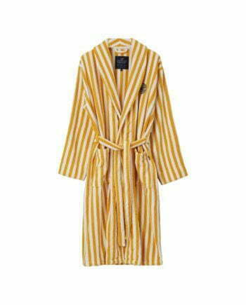 Striped Cotton-Mix Terry Robe Yellow/White