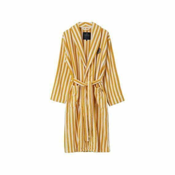 Striped Cotton-Mix Terry Robe Yellow/White