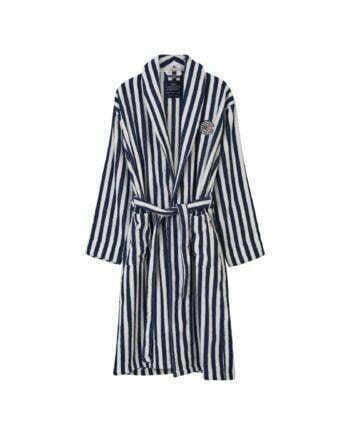 Striped Cotton-Mix Terry Robe Blue/White
