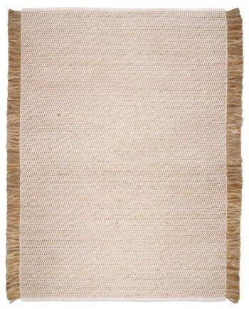 Matta av jute och vit bomull med fransar på långsidorna. mattan är 170x230cm.