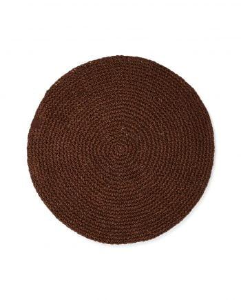 Handgjord bordstablett av mörkbrunt återvunnet papper från Lexington. Papperstabletten har en sydd logga i läderimitation.