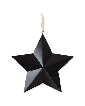Svart stjärna av metall som är 40x40 cm och har ett upphänge.
