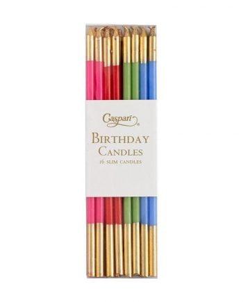 Tårtljus som är 15 cm långa och har guld uppe och nere. 16-pack ljus varav de är olika färger, rosa, rött, grönt och blått